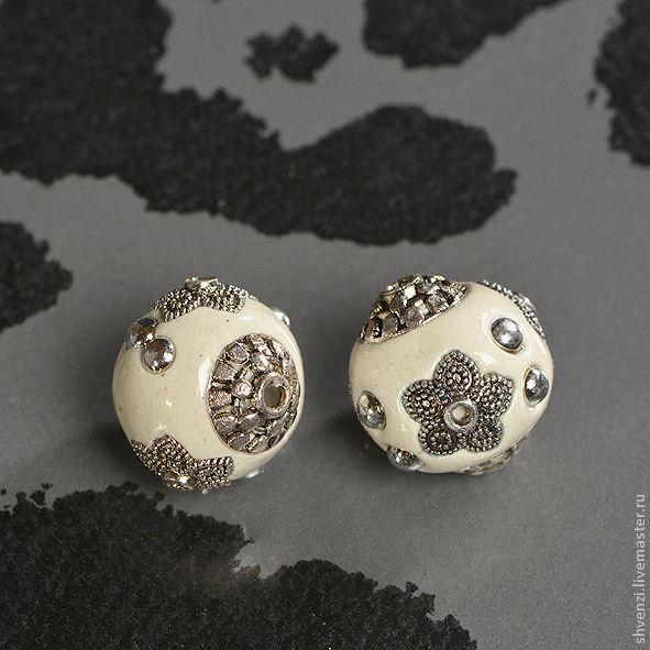 Купить Бусины из полимерной глины. - бусины, бусины для украшений, полимерная глина, фурнитура посеребренная