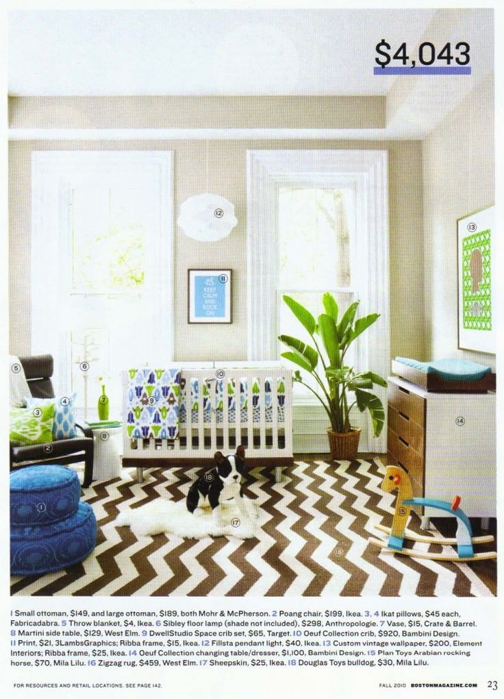 "Love the rug contrasting with the ""baby"" prints throughout the room.   This was also highlighted at YHL's Babycenter post."