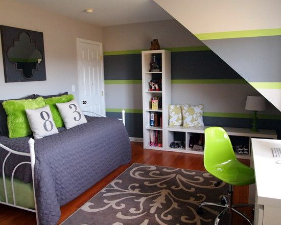 green and gray rooms | Grey And Green Stripes For Boys Room Paint Color Ideas In Contemporary ...