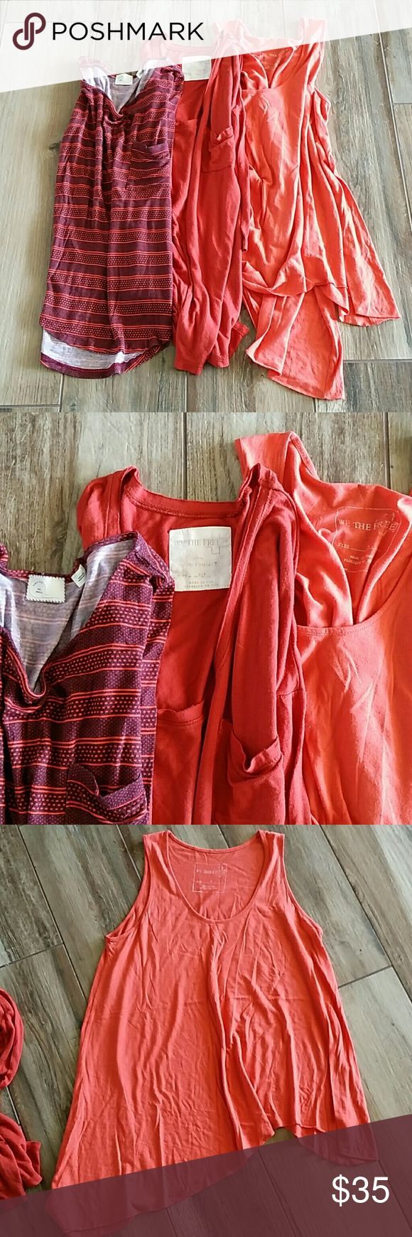 BUNDLE OF 3❤FREE PEOPLE ❤ ANTHROPOLOGIE Size small One orange Asymmetric tank- euc gently worn, no issues We The free project social tee in burnt orange - euc gently worn no issues Anthropologie Postmark Cotton 3/4 sleeve top   Bundled together not selling separate. Free People Tops