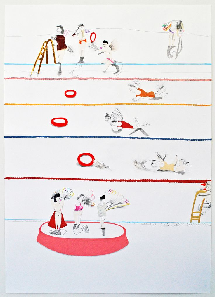 KATE LYDDON - Horizontal Scene in Pink, Red, Blue and Yellow penci, collage and ink on paper- 100 x 140 cm - 2011