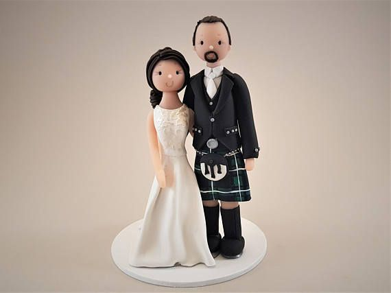Bride & Groom Customized Scottish Wedding Cake Topper kilt