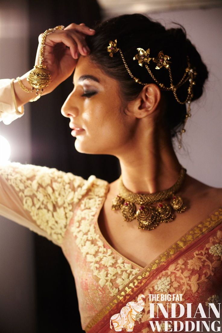 gold floral strand headpiece + borli (ball) hand bracelet (hath phool) and rope necklace for Indian designer Anju Modi at India Couture Week 2014 #icw2014