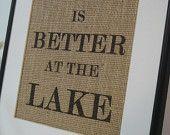 Personalized Lake House Sign on natural burlap cottage lake house cottage decor. $20.00, via Etsy.