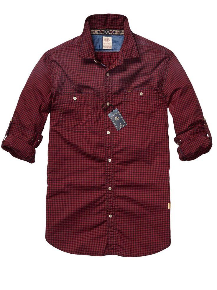 scotch & soda easy check shirt with chest pockets