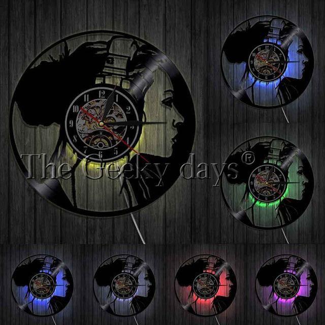 Royal Infinity Skull Music Headphones Wall Clock Wall Clock Light Record Wall Wall Clock