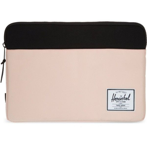 "HERSCHEL Anchor 13"" laptop sleeve ($61) ❤ liked on Polyvore featuring accessories, tech accessories, clutches, pastel pink, herschel, laptop sleeve cases, pink laptop cases and padded laptop case"