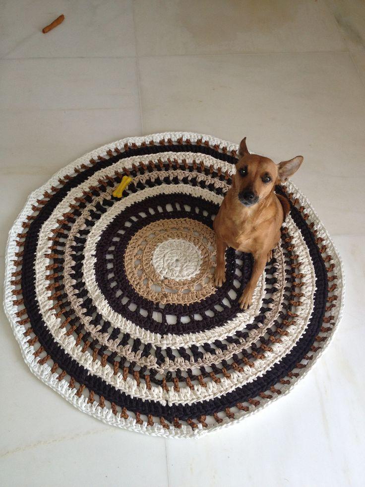 Crochet brown rug Zpagetti yarn