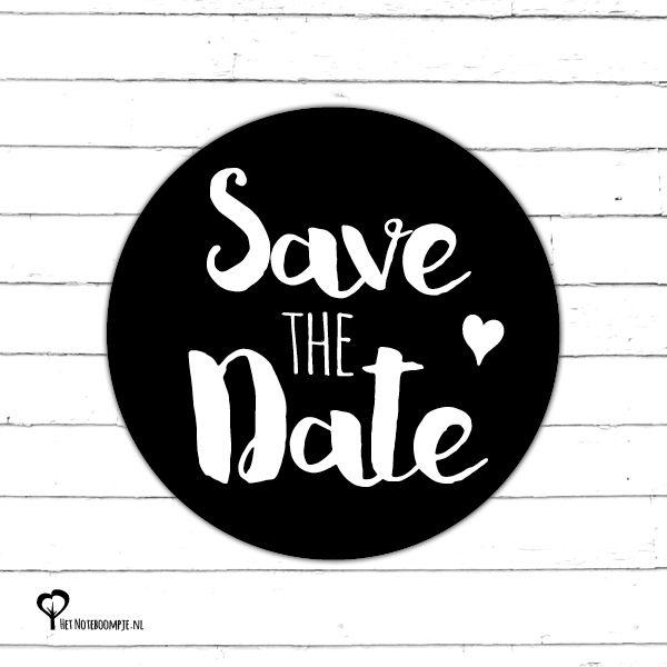 5 Ronde stickers met de tekst 'Save the Date' met een diameter van 40mm. Originele sluitzegel voor de enveloppen van je trouwkaarten.