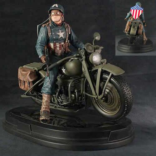 It's The Marvel Captain America on Motorcycle Statue. Straight out of the pages of The Ultimates comes the World War II-era Ultimate Captain America on his motorcycle! In the Marvel Ultimate Universe,
