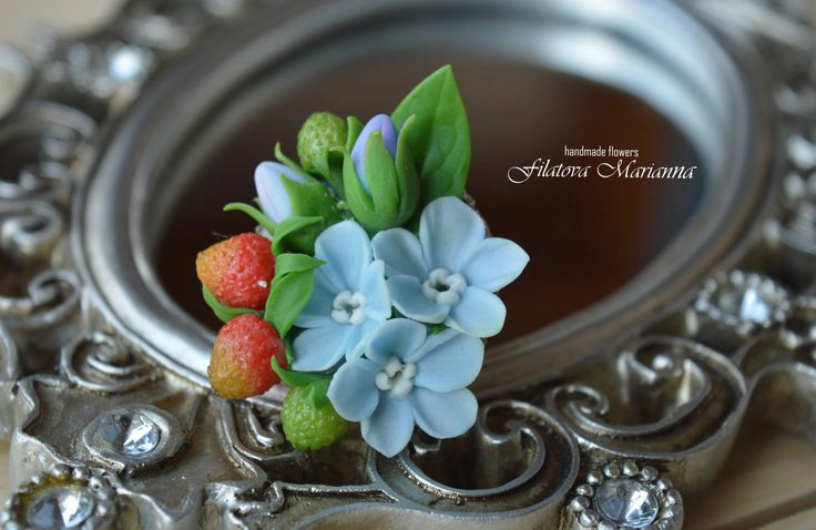 Ring with polymer clay. In the composition: Myosotis, strawberry. by MariannaFlowers on Etsy