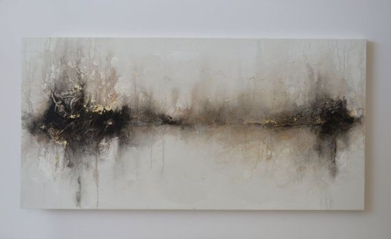 24 x 48 peinture abstraite noir blanc métallisé par ArtByCornelia
