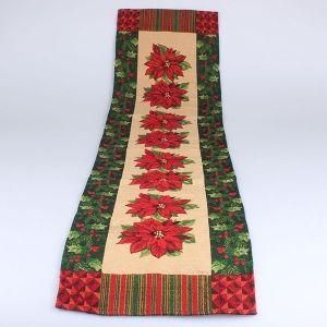 Textilní běhoun Vánoční květina se zeleným lemem