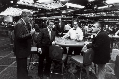 Frank Vincent, Joe Pesci, and Martin Scorsese on the set of Casino (1995)