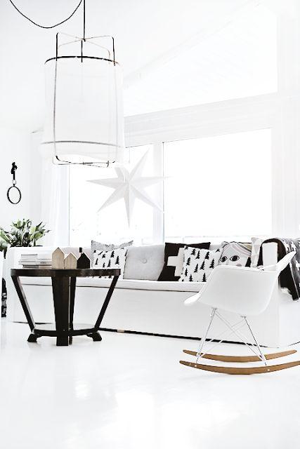 White rocking Chair RAR Eames designer nordic living