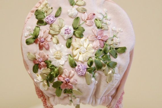 BABY BONNET, SILK BONNET, EASTER BONNET, BABY GIRL HAT, VINTAGE BABY, INFANT PHOTO PROP, PINK, GREEN, FRENCH EMBROIDERY, VELVETEEN A Lovely little Bonnet for a Lovely little girl!  Shimmering silk is paired with soft velveteen and trimmed in ribbon embroidery and rayon bridal lace to create this exquisite little bonnet for your little girl.  Fully lined with soft-lime green dupion silk All natural fibers, silk and cotton, it is both breathable and warm.  Elegant and sturdy, this bonnet is…