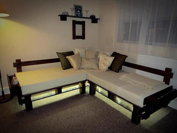 #DIY Pallet Sectional Sofa with Lights  Follow Elbowroom on Pinterest for more DIY ideas!