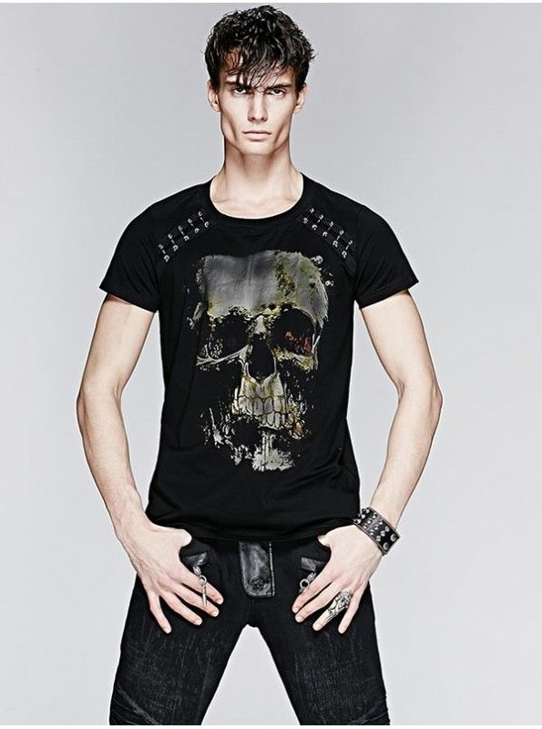 Check out the MENS SKULL PRINT & PEARL RIVET T-SHIRT, available in sizes!
