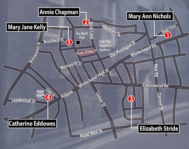 Flower and Dean Street (marked) was destroyed in the Blitz. But in 1888 it lay between Commercial Street to the west and Brick Lane to the east, north of Whitechapel Road. This map also reveals the locations of each victim's murder and the Ten Bells pub, believed to be where Jack the Ripper used to frequent