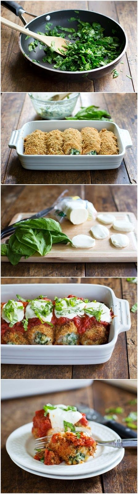 Baked Mozzarella Chicken Rolls by pinchofyum: Just 260 calories for a crispy, saucy chicken breast stuffed with spinach and ricotta. Ingr...