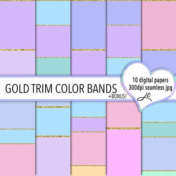Gold Trim Color Bands Digital Papers  BONUS Photoshop Pattern