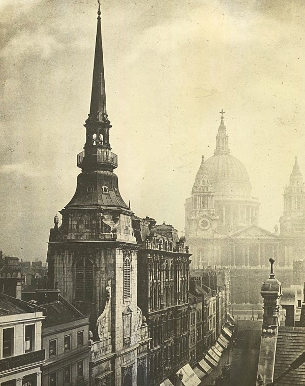 St. Martin, Ludgate with St. Paul's Cathedral, c. 1900 (via The Fogs & Smogs of Old London | Spitalfields Life)