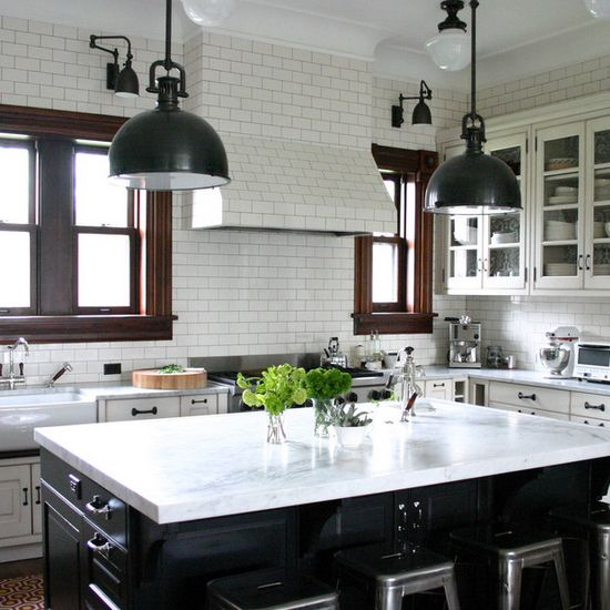 subway tile and stained wood trim