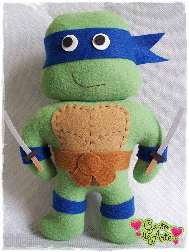 Quem não conhece essas figurinhas?               Molde Tartarugas Ninjas em Feltro!