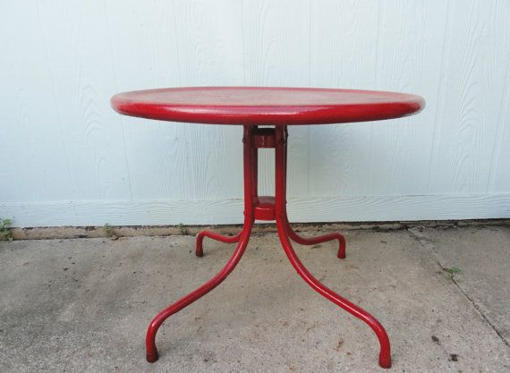 Reserved For Mrbinteriors Vintage Red Coffee Table Metal Round Studio Patio Side End Mid Century Indoor Outdoor