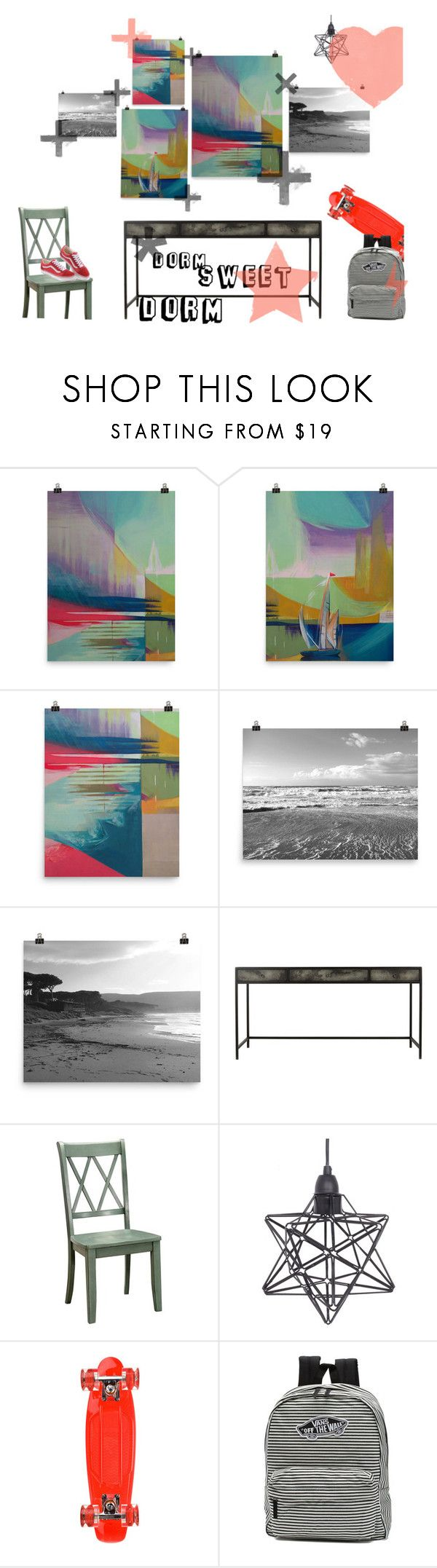 Set of decor inspired by dorm life. Modern gallery wall, combination of abstract painting and black and white beach photo decor. #gallerywall #wallart #walldecor #dormdecor #dorm #abstractart Dorm Sweet Dorm by kacix on Polyvore featuring interior, interiors, interior design, home, home decor, interior decorating, Crystal Art, Vans, Sunset Skateboards and modern