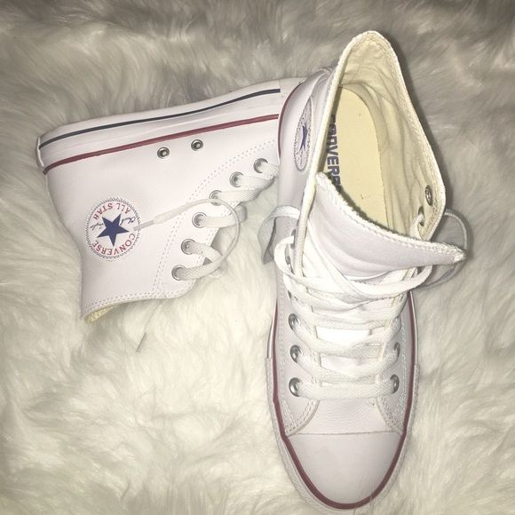 Converse Leather High Tops Converse All-Star White Leather High-Tops Converse Shoes Sneakers