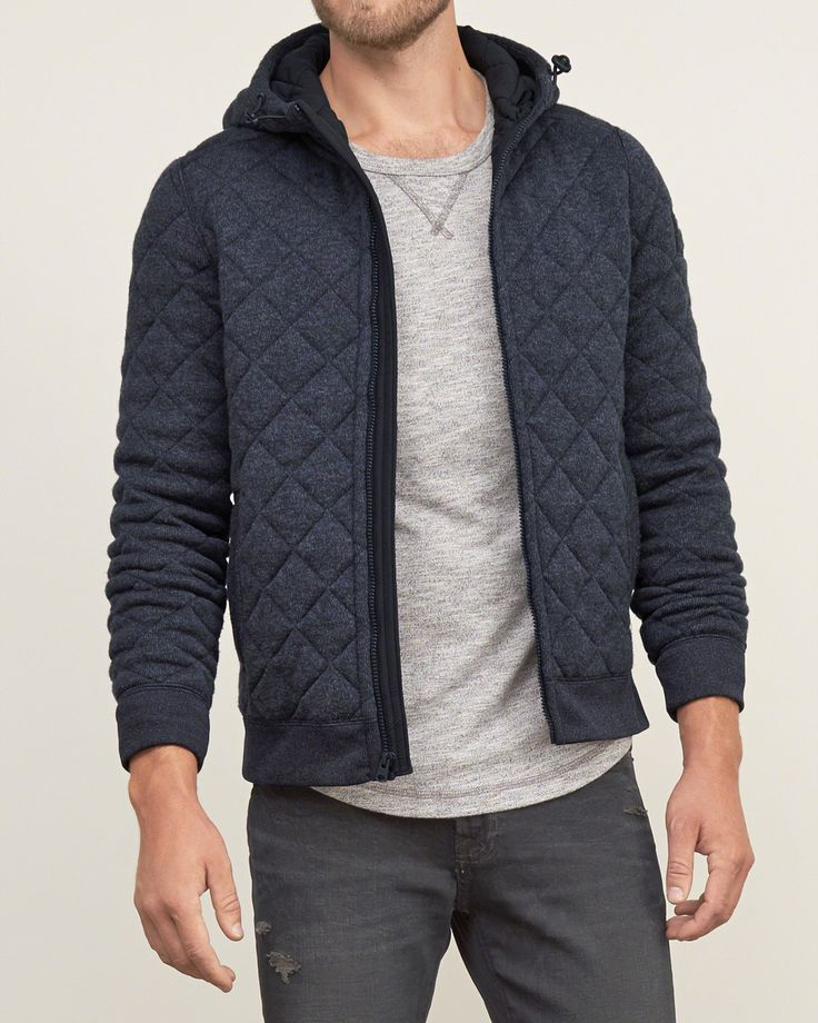 Cool and comfortable featuring a contrast quilted exterior, a drawcord hood, a center-front zip closure, front pockets, ribbed trims and a logo patch at left sleeve, Imported<br><br>100% Polyester