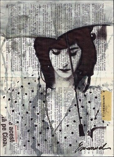 Rainy Day - mixed media collage Love the fact that so much of this is newspaper