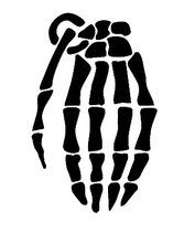 Grenade Skateboard Gloves Skeleton Logo Vinyl Decal Sticker - white