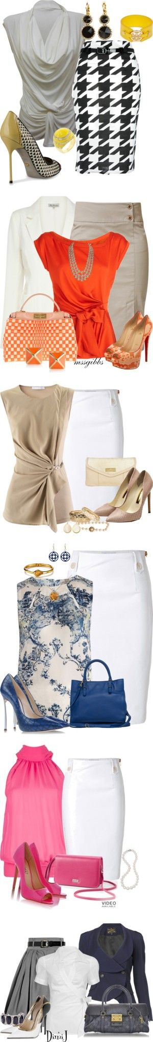 """9-5"" by zuckie1 on Polyvore Great work outfits. I would add a jacket or cardigan to them."