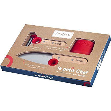 Messer und Schälmesser Set von Opinel mit Fingerschutz, damit Kinder schon früh in der Küche helfen können.