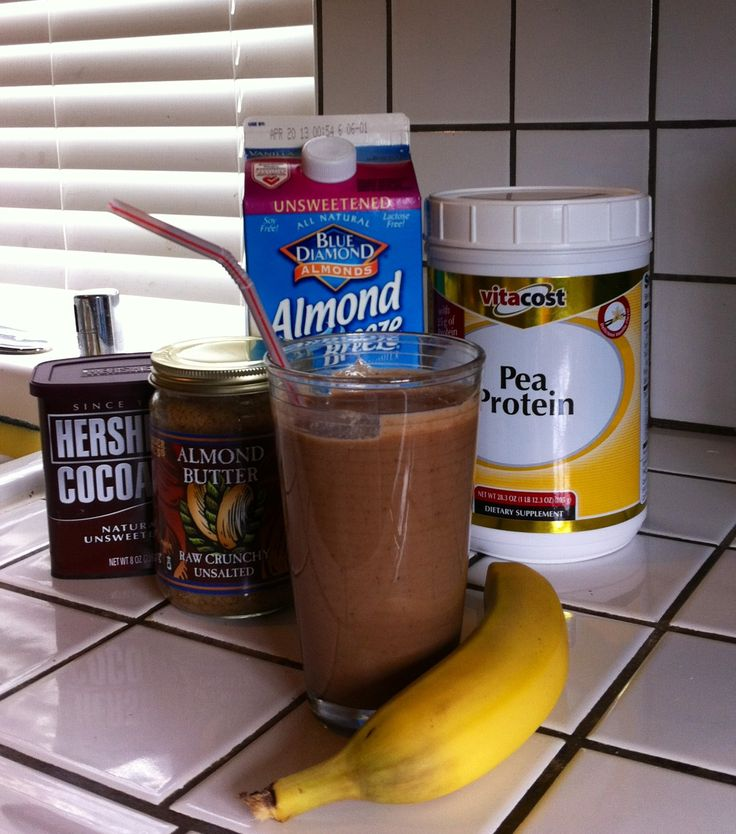 Chocolate banana protein smoothie: 1 c almond milk, 1 banana, 1 large scoop pea protein powder, 1-2 T almond butter, 1 T cocoa. Delicious, vegan, sugar and soy free!