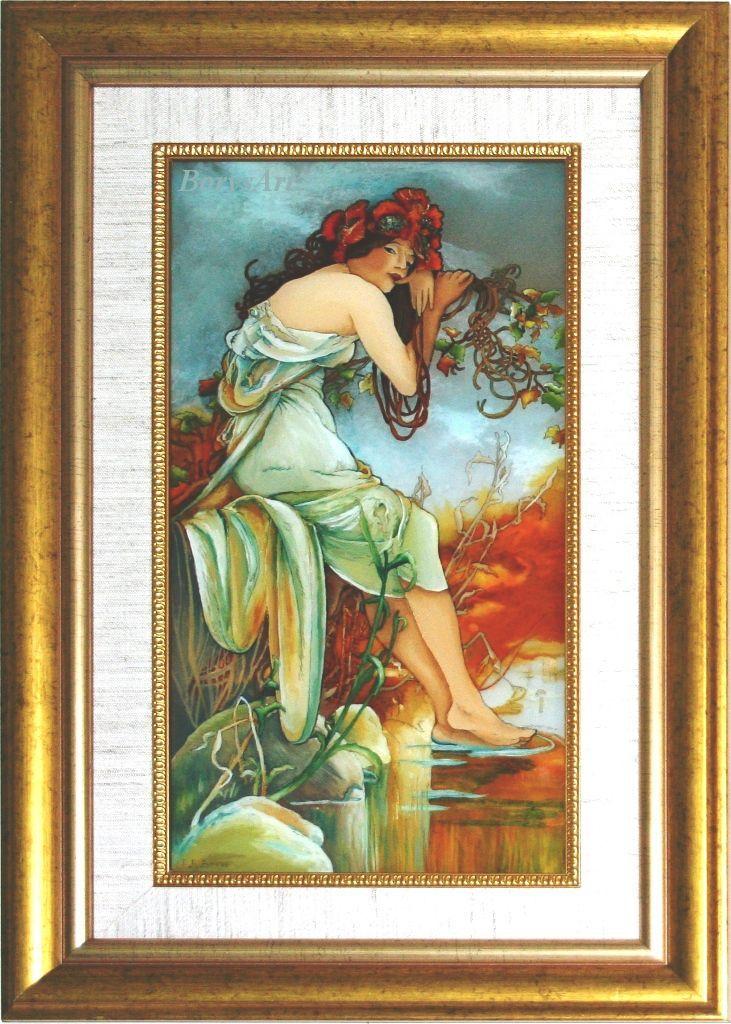 LATO Alphonse Mucha, malowane na szkle, Danuta Rożnowska-Borys -BorysArt