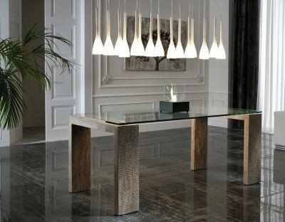 Tavolo Moderno Rigato in Pietra Color Legno 2 Misure
