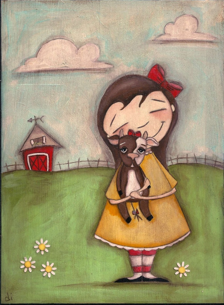 Print of my original folk art painting Cow Girl by DUDADAZE