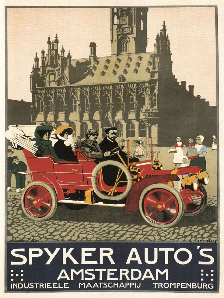 ADVERT-AUTOMOBILE-CAR-SPYKER-AMSTERDAM-NETHERLANDS-VINTAGE-POSTER-PRINT-784PY