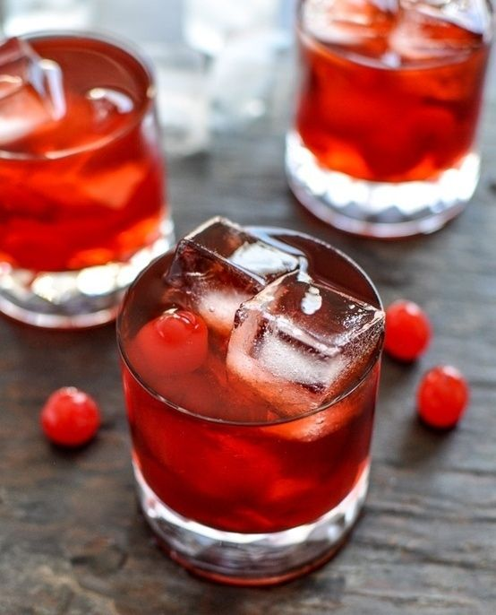 Cherry Whiskey Smash... Red drinks are perfect for Valentine's Day