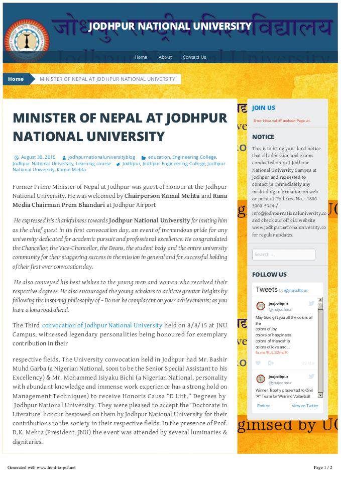 #KamalMehta #JodhpurNationalUniversity Former Prime Minister of Nepal at Jodhpur was guest of honour at the Jodhpur National University. He was welcomed by Chairperson Kamal Mehta and Rana Media Chairman Prem Bhandari at Jodhpur Airport.