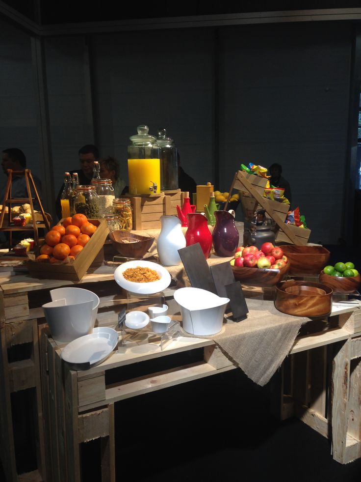 The buffet display table which highlighted some of our most popular products including our wooden units, acacia bowls, enamel jugs and melamine bowls