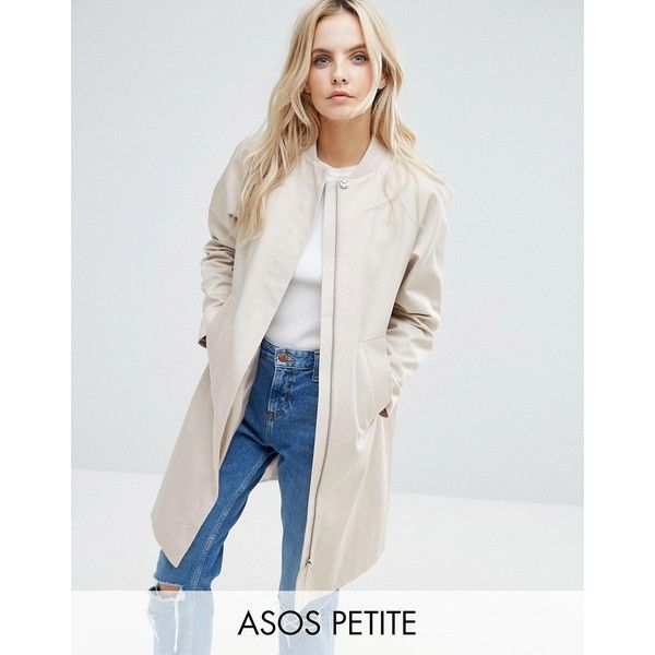 ASOS PETITE Trench with Minimal Styling (€64) ❤ liked on Polyvore featuring outerwear, coats, petite, stone, lined trench coat, zip coat, asos, trench coat and petite trench coat