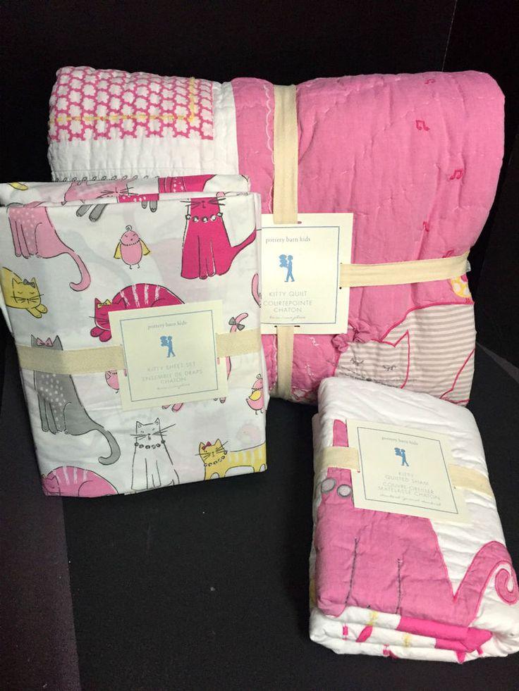 Pottery Barn Kids Kitty Cat Twin Quilt Sheet Sham Bedroom