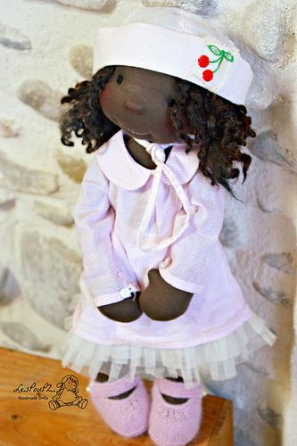 Anita in her soft pink outfit, by LesPouPZ Handmade Dolls