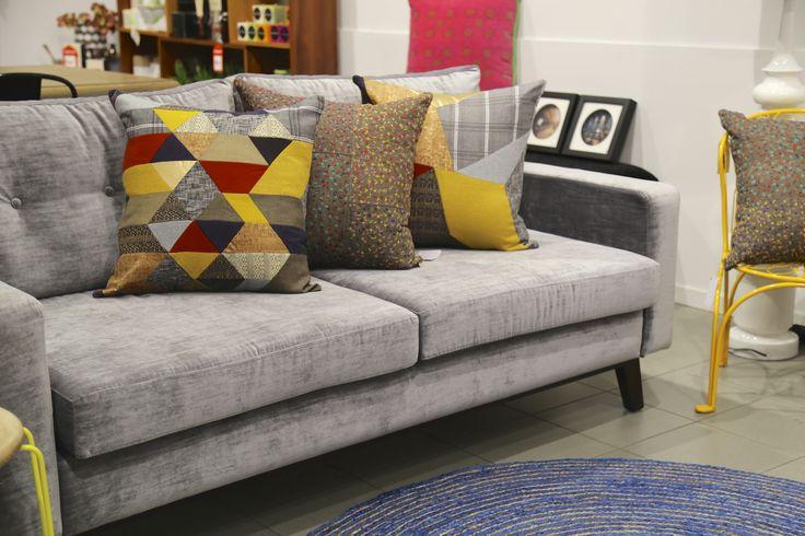 Custom made Silver Grey velvet sofa styled with Megan Park cushions. Available at www.designarthouse.com.au