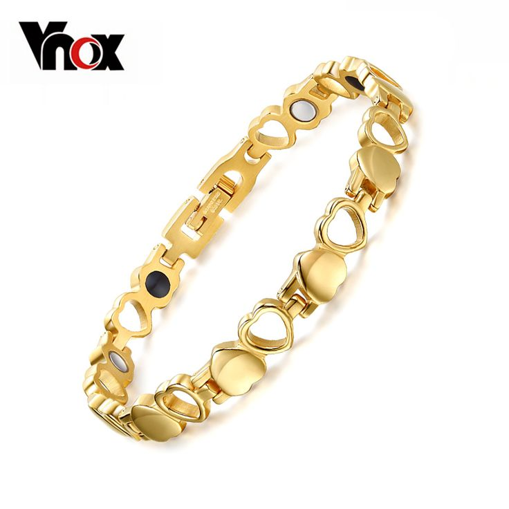 Vnox Healthy Care Magnetic Bracelets Bangles Gold-color Heart Stainless Steel Women Female Fashion Jewelry