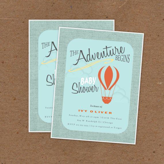 32 best modern baby shower images on pinterest baby showers adventure begins shower invitations hip mid century mod vintage cards hot air balloon journey travel filmwisefo